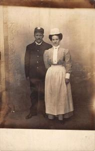 Man and woman posing for photo household servants? real photo pc Y14324