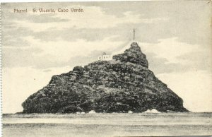 PC CPA CABO VERDE / CAPE VERDE S. VICENTE LIGHTHOUSE Vintage Postcard (b26734)