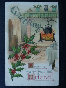 Christmas Greetings FROM A WARM HEARTED FRIEND c1907 Postcard by Wildt & Kray