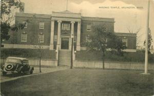Arlington Massachusetts Auto Masonic Temple 1939 Postcard 4702