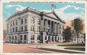 New York Troy Rensselaer County Court House Annex & Hart Memorial Library...