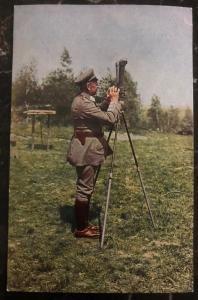 Mint WW1 Germany RPPC Postcard Wehrmacht Army General Linsingen Using Periscope