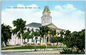 Key West, Florida Postcard COURT HOUSE SQUARE Street View Kropp Linen 1940s