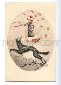 176739 ART NOUVEAU Lady GREYHOUND by KABY Vintage PC
