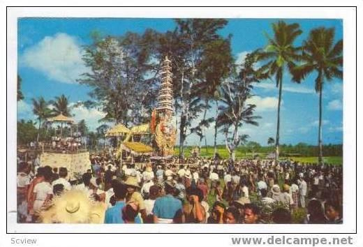 Cremation ceremony, Bali, Indonesia, Pu 1950s