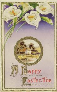 A Happy Easter-Tide Easter Greetings Rural Scene House Home Vintage Postcard