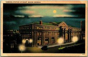 Macon, Georgia Postcard TERMINAL STATION, AT NIGHT Railroad Train Depot Linen