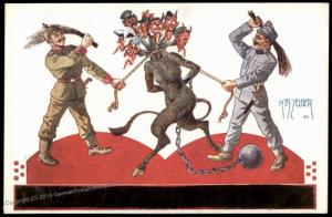 Austria Whipping Enemy Krampus WWI Christmas Patriotic PPC 81109