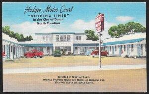 Hodges Motor Court Dunn North Carolina Unused c1950s