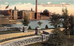 25843 MA, Waltham, 1914, Enterance to Mt. Feake Cemetery and Waltham Watch Fa...