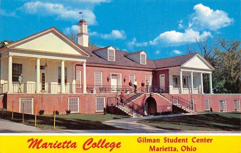 Marietta Ohio~Marietta College~Gilman Student Center~1960s Postcard