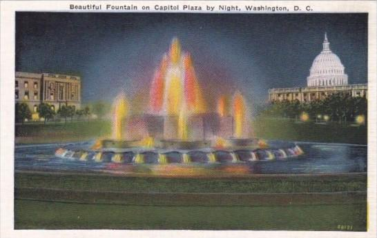 Illuminated Fountain On Capitol Plaza Washington D C