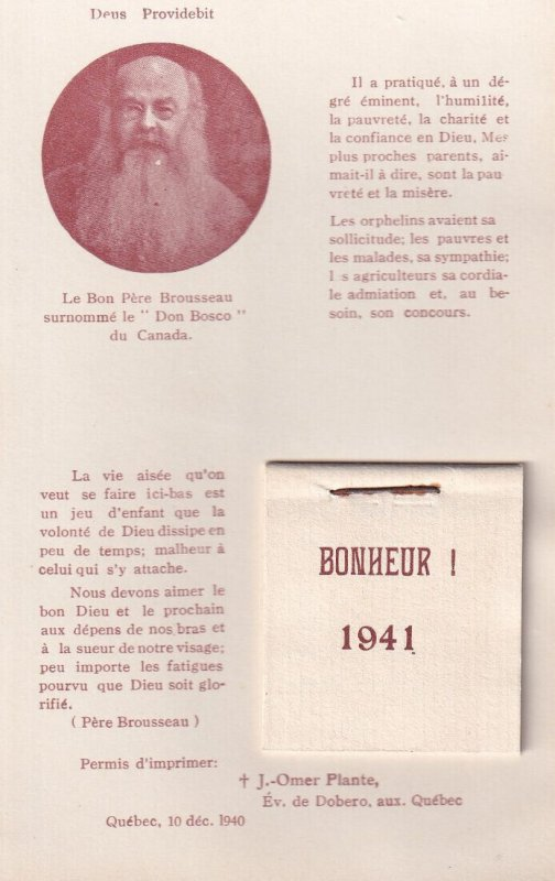 FRENCH CALENDAR for 1941; Portrait of Don Bosco from Canada