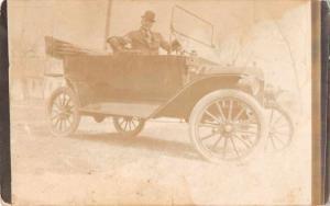 Man Driving Car Real Photo Antique Postcard J55272