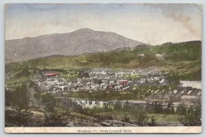 Windsor Vermont~Birdseye View @ Cornish Hills~River in Front~c1910 Postcard