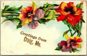 1909 CRAIG, Missouri Embossed Greetings Postcard w/ Colorful Pansy Flowers