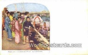 Japanese Fishermen at Wharf Yokohama Japan Unused