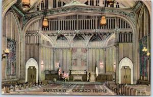 Chicago, Illinois Postcard Sanctuary - CHICAGO TEMPLE Interior Linen c1940s