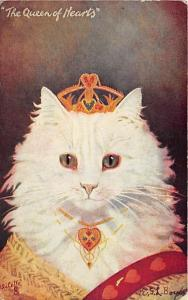 Cat Post Card Old Vintage Antique Queen of Hearts Writing on back