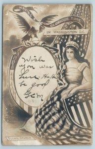 Postcard Washington DC Patriotic Lady Liberty Flag 1908 RPPC Flynn Studio C39