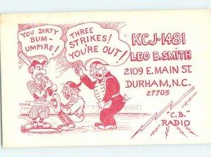 Pre-1980 RADIO CARD - CB HAM OR QSL Durham North Carolina NC AH2229