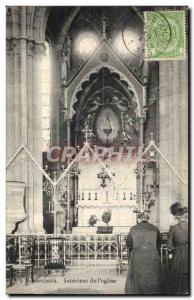 Belgie Belgium Old Postcard Bonsecours Interior of & # 39eglise