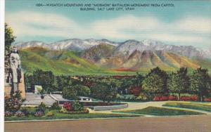 Utah Salt Lake City Wasatch Mountains and Mormon Battalion Monument From Capi...