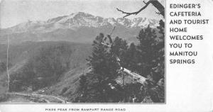 Manitou Springs Colorado Pikes Peak from Rampart Range Rd antique pc ZA440409