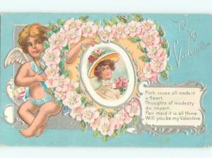 Divided-Back CUPID VALENTINE SCENE Cute Postcard W7648