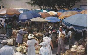 Vendors exhibit attractive straw work in the picturesque native markets in th...