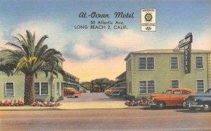 AT-OCEAN MOTEL Long Beach, California Roadside ca 1940s Vintage Linen Postcard