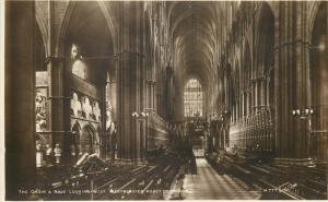 The Choir & Nave looking west Westminster Abbey London RP PC