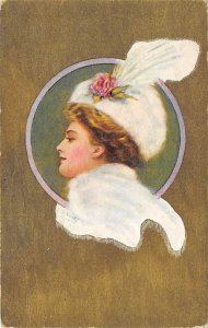 Woman wearing a white hat with a white feather Glamour Woman Unused
