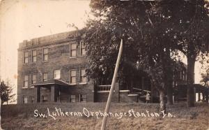 Stanton Iowa~Swedish Lutheran Orphanage~Orphan Girl on Steps~c1908 RPPC