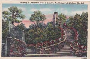 Indiana Michigan City Stairway To The Observation Tower In Washington Park Cu...