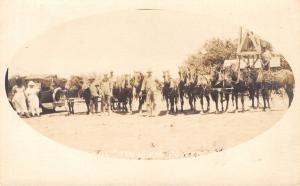Real Photo Postcard~Comic Pun~Real Ten Horse Power~Car~10 Horses~c1915 RPPC