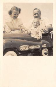 Real Photo Postcard~2 Yr Old Michael in Jet Flow Drive Pedal Car~Fire Dept~1951