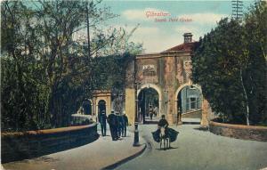 Gibraltar south port gates street scene animated vintage postcard