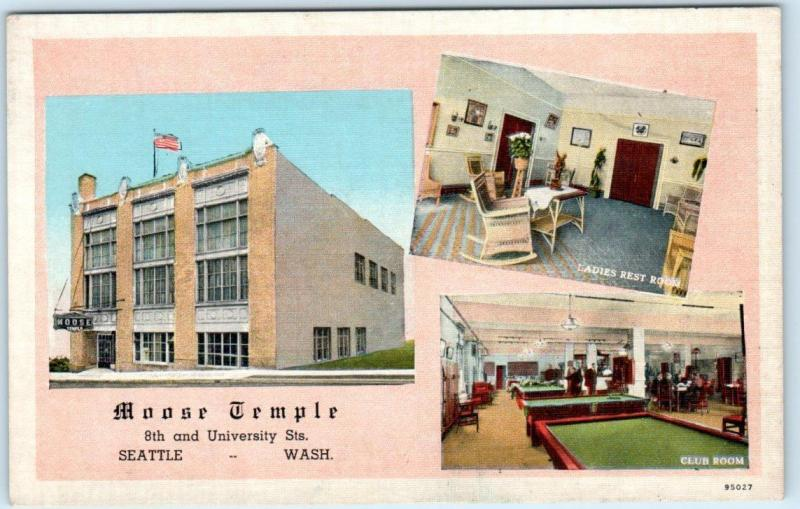 SEATTLE, Washington WA MOOSE TEMPLE Interior Pool Tables C1940s Postcard