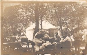 Real Photo Postcard~Family Picnic Table~Baskets~White Tent~Ladies in Hats~c1912