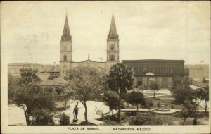 Matamoras Mexico Plaza de Armes c1920 Real Photo Postcard