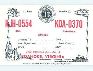 Pre-1980 RADIO CARD - CB HAM OR QSL Roanoke Virginia VA AH1767