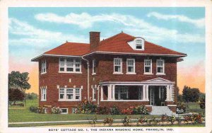 Boys Cottage 1 Indiana Masonic Home Franklin Indiana 1930s postcard