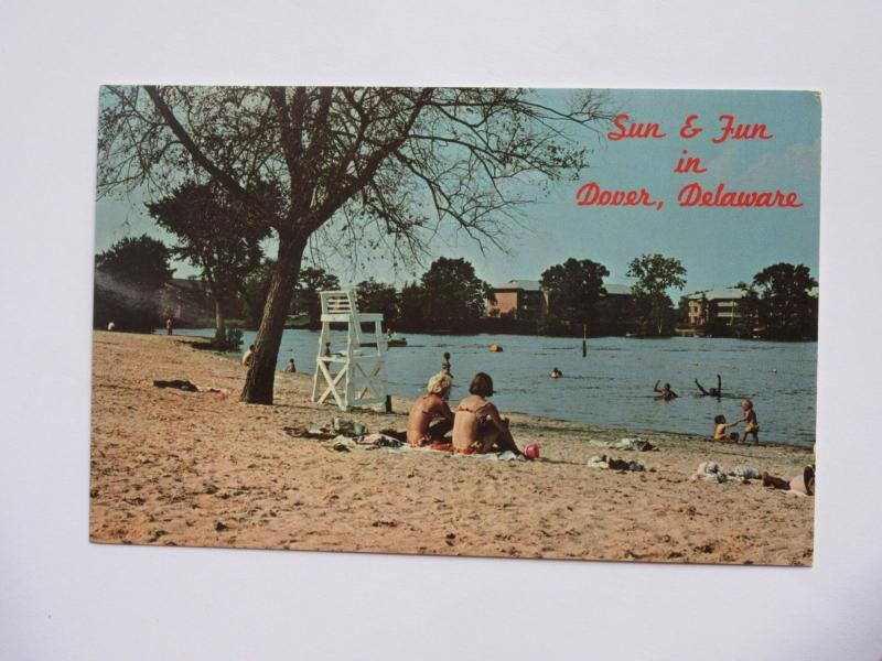 Sunbathers at Silver Lake, Dover DELEWARE Vintage Chrome Postcard
