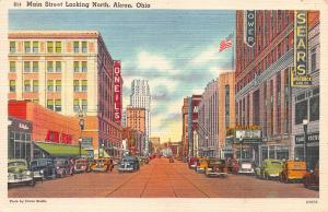 Main Street Looking North, Akron, Ohio, Early Linen Postcard, Used in 1950