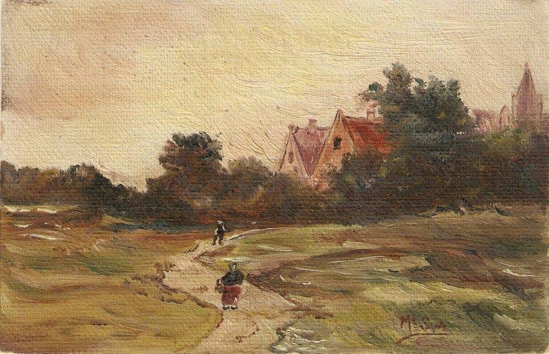 Village landscape with fiures Old vintage antique Spanish Postcard. Signed