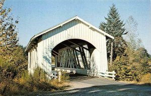 HANNAH COVERED BRIDGE Thomas Creek, Linn Co, Oregon c1950s Vintage Postcard
