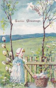 Easter Greetings, Girl wearing bonnet, woven basket full colored eggs, open p...