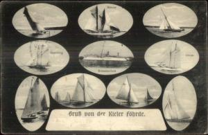 Kiel Germany Gruss von der Kieler Fohrde Yachts Iduna Meteor Hamburg Postcard