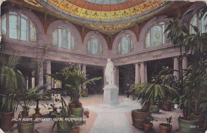 Interior, Palm Room, Jefferson Hotel, Richmond, Virginia, PU-1912
